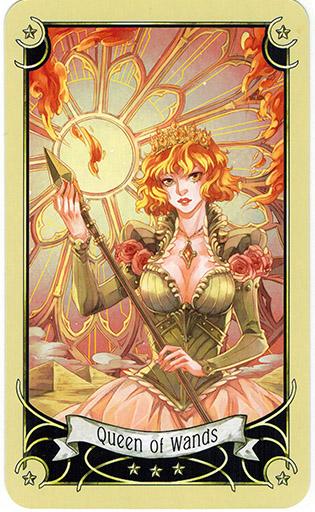Ý nghĩa lá Queen of Wands trong bộ bài Mystical Manga Tarot