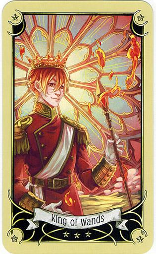 Ý nghĩa lá King of Wands trong bộ bài Mystical Manga Tarot