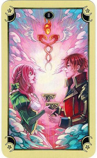 Ý nghĩa lá Two of Cups trong bộ bài Mystical Manga Tarot