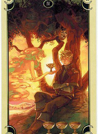 Lá Four of Cups – Mystical Manga Tarot