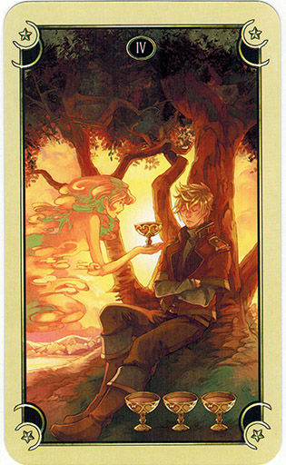 Ý nghĩa lá Four of Cups trong bộ bài Mystical Manga Tarot
