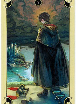 Lá Five of Cups – Mystical Manga Tarot