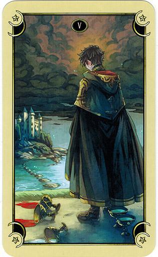 Ý nghĩa lá Five of Cups trong bộ bài Mystical Manga Tarot