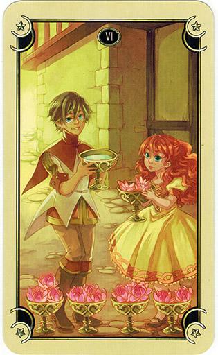 Ý nghĩa lá Six of Cups trong bộ bài Mystical Manga Tarot