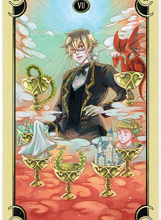 Lá Seven of Cups – Mystical Manga Tarot