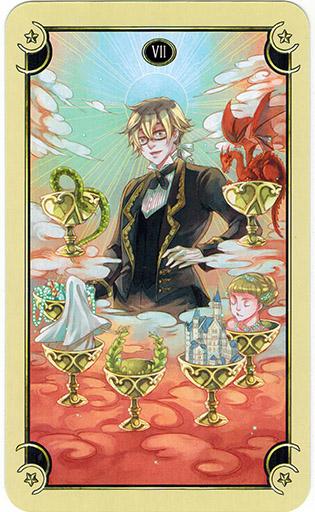 Ý nghĩa lá Seven of Cups trong bộ bài Mystical Manga Tarot
