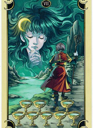 Lá Eight of Cups – Mystical Manga Tarot