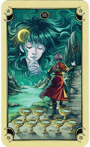 Ý nghĩa lá Eight of Cups trong bộ bài Mystical Manga Tarot
