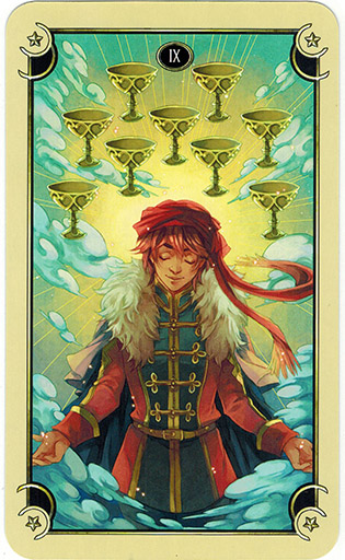 Ý nghĩa lá Nine of Cups trong bộ bài Mystical Manga Tarot