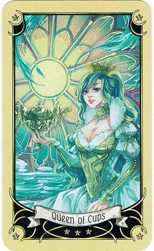 Ý nghĩa lá Queen of Cups trong bộ bài Mystical Manga Tarot