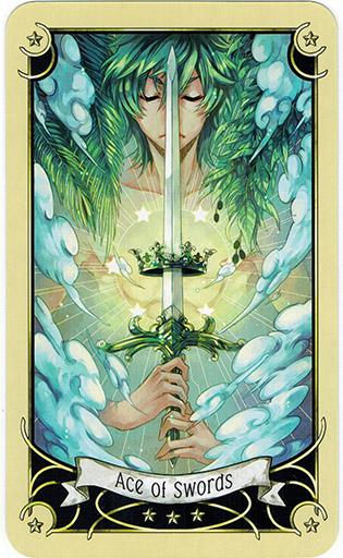Ý nghĩa lá Ace of Swords trong bộ bài Mystical Manga Tarot