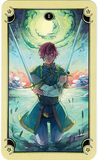 Ý nghĩa lá Two of Swords trong bộ bài Mystical Manga Tarot