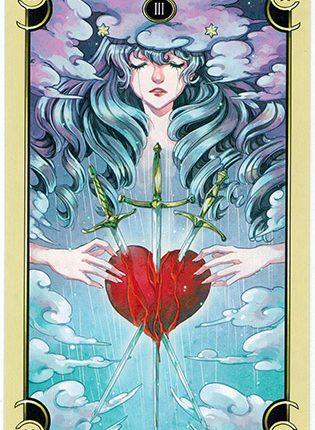 Lá Three of Swords – Mystical Manga Tarot