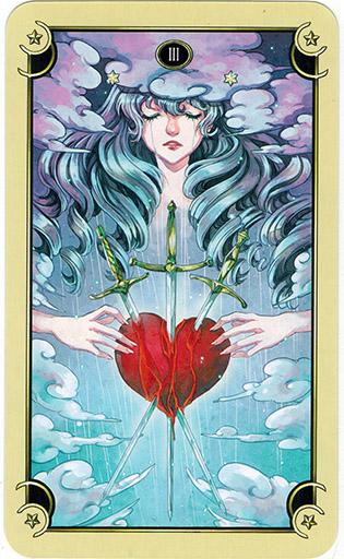 Ý nghĩa lá Three of Swords trong bộ bài Mystical Manga Tarot