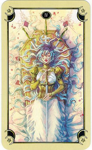 Ý nghĩa lá Four of Swords trong bộ bài Mystical Manga Tarot
