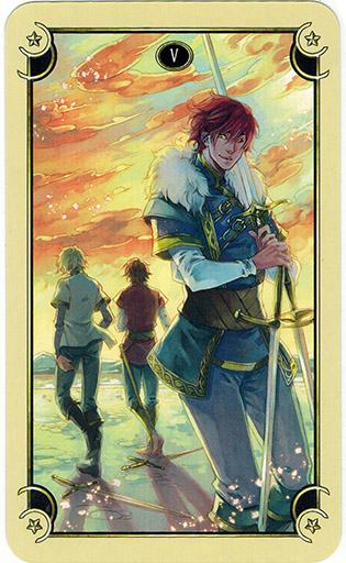 Ý nghĩa lá Five of Swords trong bộ bài Mystical Manga Tarot