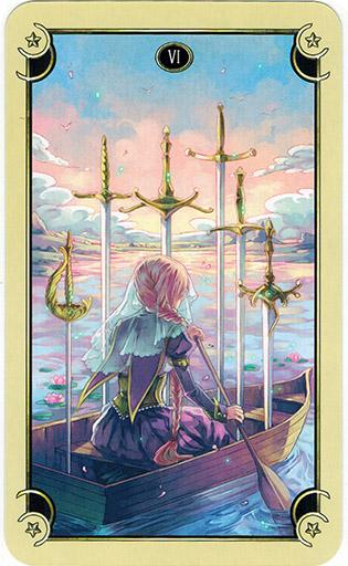 Ý nghĩa lá Six of Swords trong bộ bài Mystical Manga Tarot