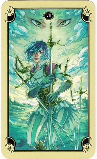 Ý nghĩa lá Seven of Swords trong bộ bài Mystical Manga Tarot