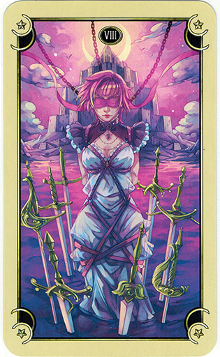 Lá Eight of Swords - Mystical Manga Tarot 1