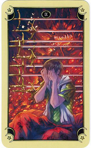 Ý nghĩa lá Nine of Swords trong bộ bài Mystical Manga Tarot