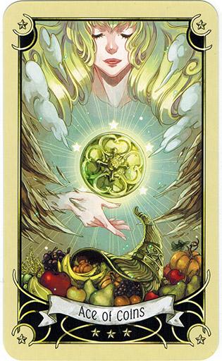 Ý nghĩa lá Ace of Coins trong bộ bài Mystical Manga Tarot