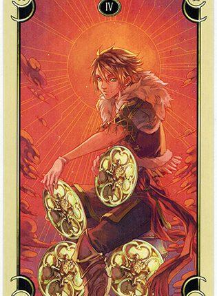 Lá Four of Coins – Mystical Manga Tarot