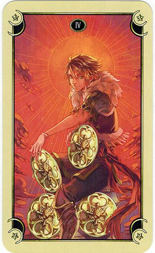 Ý nghĩa lá Four of Coins trong bộ bài Mystical Manga Tarot