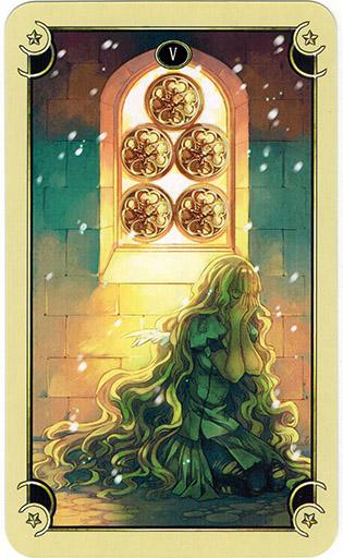 Ý nghĩa lá Five of Coins trong bộ bài Mystical Manga Tarot