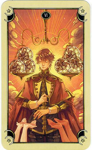 Ý nghĩa lá Six of Coins trong bộ bài Mystical Manga Tarot
