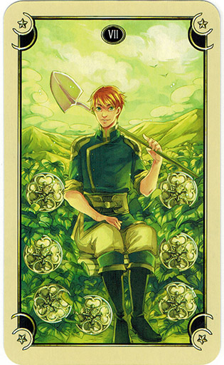 Ý nghĩa lá Seven of Coins trong bộ bài Mystical Manga Tarot