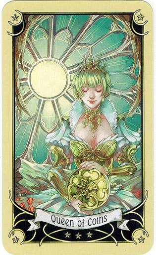 Ý nghĩa lá Queen of Coins trong bộ bài Mystical Manga Tarot
