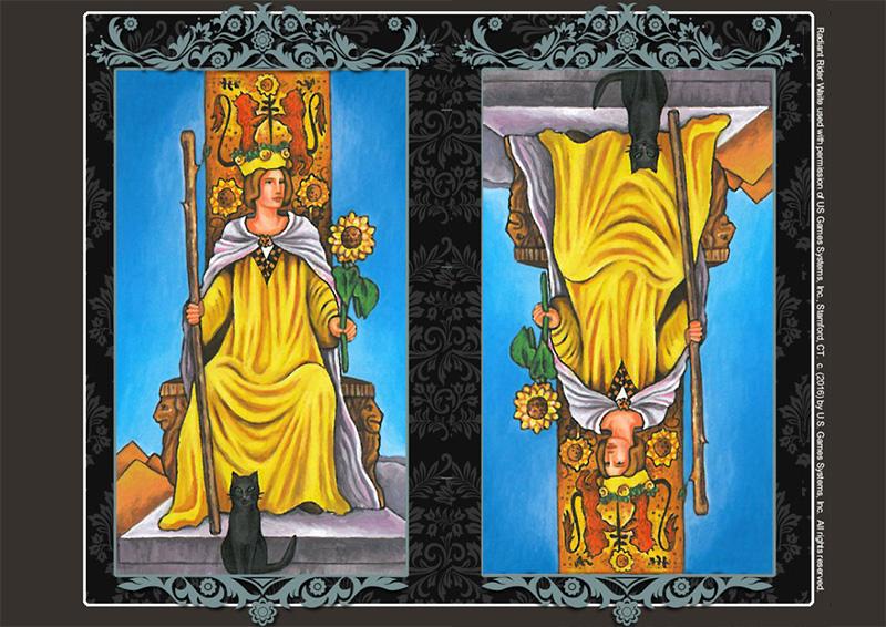 Lá bài Queen of Wands xuôi và ngược