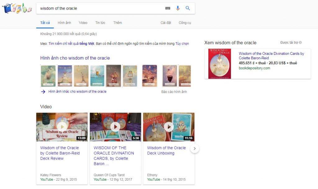 Ví dụ về việc tự tìm kiếm bộ bài Oracle mình muốn sở hữu trên mạng